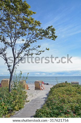 Beach Chairs at Southern Beach on Fehmarn Island,baltic Sea,Schleswig-Holstein,Germany - stock photo