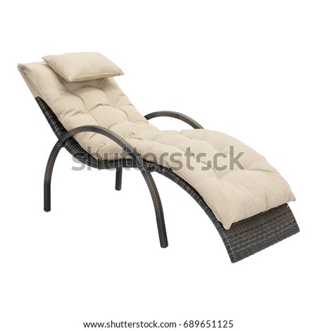 Beach Chaise Lounge Chair Isolated On White Background. Wicker Patio And Outdoor  Furniture. Rattan
