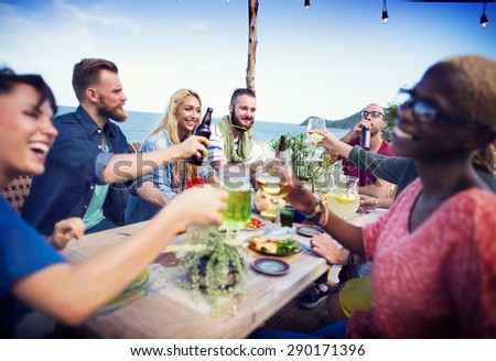 Beach Cheers Celebration Friendship Summer Fun Dinner Concept - stock photo