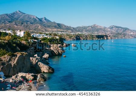 Beach, Coast Near Resort Town Of Nerja In Spain. View From Balcon De Europa - stock photo