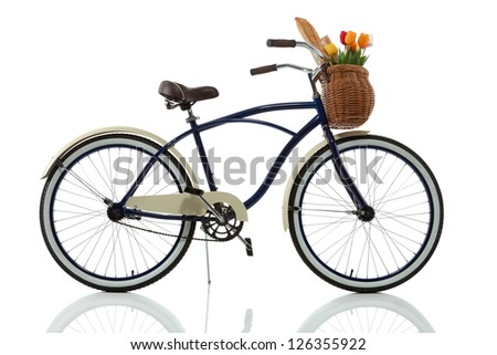 Beach cruiser with basket isolated on white - stock photo