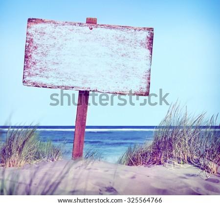 Beach Empty Plank Sign Banner Timber Coastline Summer Concept - stock photo