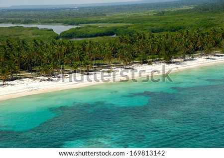 Beach from above, taken from helicopter. Dominican Republic. - stock photo