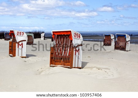 Beach from the town of Cuxhaven, Germany - stock photo