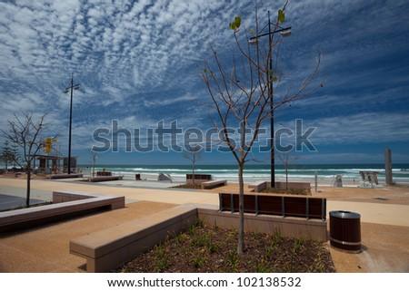 Beach front Esplanade, Surfer Paradise, Gold Coast, Queensland, Australia - stock photo