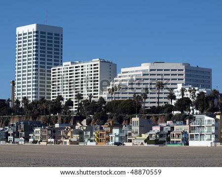 Beach front living at famous Santa Monica beach, California. - stock photo