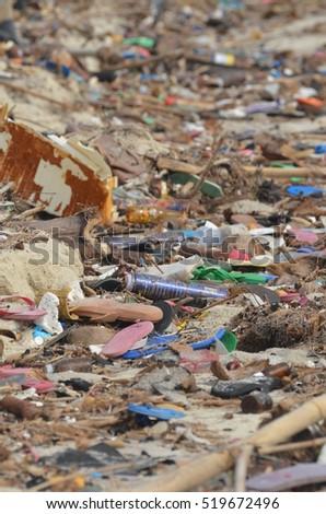 Beach full of rubbish