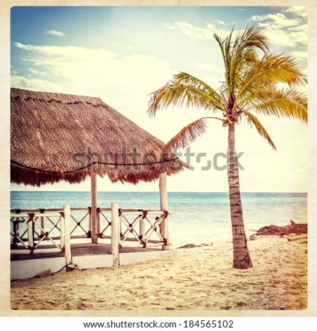 Beach gazebo, instagram style - stock photo