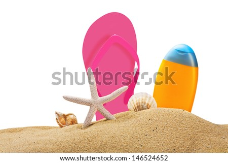 beach gear on the sea sand isolated on white background - stock photo