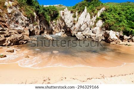 beach Gulpiyuri, Asturias, Spain - stock photo