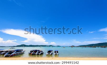 Beach harbor area for tourist traveling to the sea at Chalong Bay famous attractions in Phuket island, Thailand, Thailand, 16:9 Wide Screen - stock photo