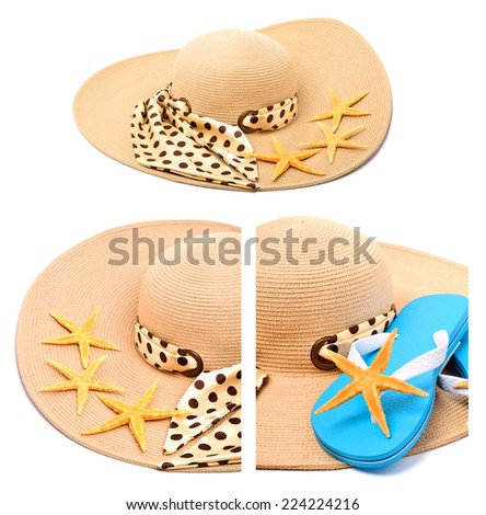 Beach hat, flip flops and starfish isolated on white. Collage - stock photo