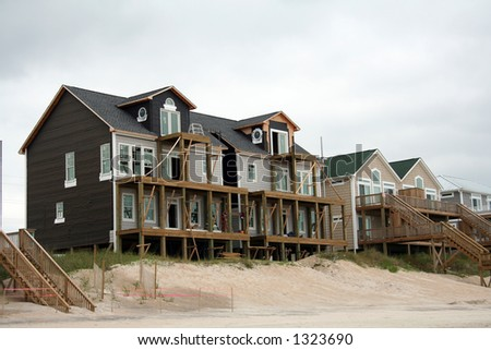 Beach home reconstruction after hurricane damage - stock photo