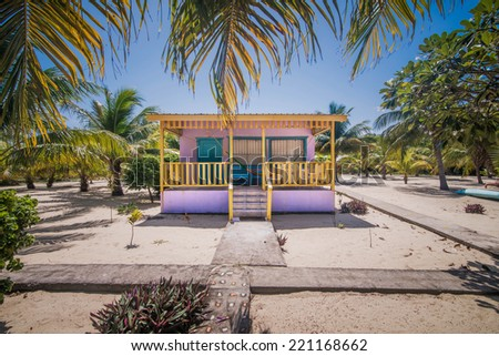 Beach house with Hammock in Placencia, Belize - stock photo