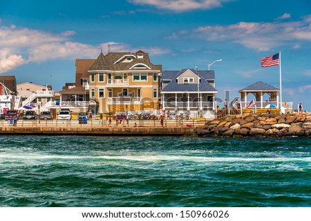 Beach houses along the inlet in Point Pleasant Beach, New Jersey. - stock photo
