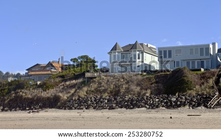 Beach houses panorama Lincoln City Oregon. - stock photo