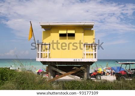 beach hut in Miami Beach - stock photo