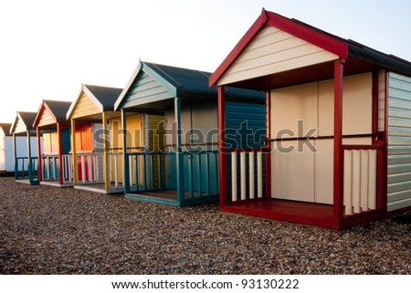 Beach Huts at Calshot, Southampton. - stock photo