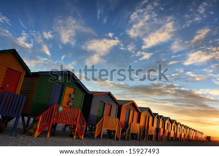 Beach huts at the town of Muizenberg near Cape Town South Africa.