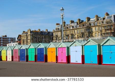 Beach Huts in Hove/Brighton - stock photo