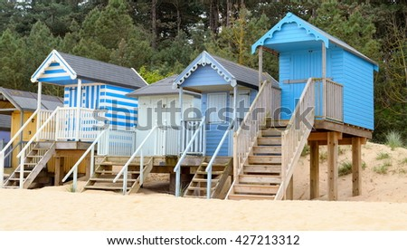 Beach huts near Wells-next-the-Sea in Norfolk, England  - stock photo