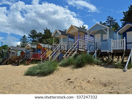Beach Huts on the Sand - stock photo