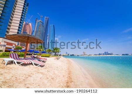 Beach in Abu Dhabi, the capital of United Arab Emirates - stock photo