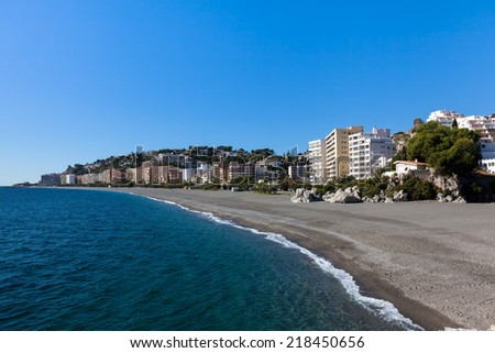 Beach in  Almunecar, Costa del Sol, Spain - stock photo