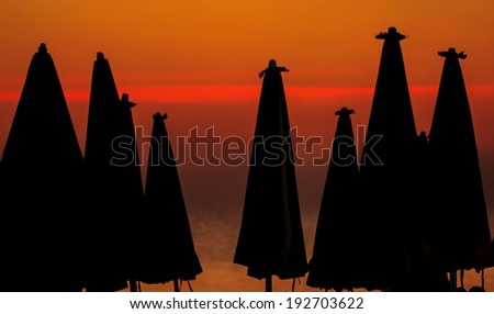 Beach in evening at sunset - stock photo