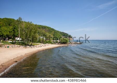 Beach in Gdynia Orlowo at Baltic Sea in Poland - stock photo