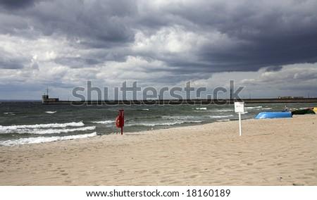 beach in hel, poland - stock photo
