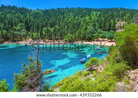 Beach in Kefalonia island, Greece - stock photo