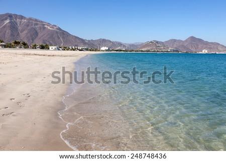 Beach in Khor Fakkan, Fujairah, United Arab Emirates - stock photo