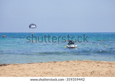 Beach in Malia, Crete, Greece - stock photo
