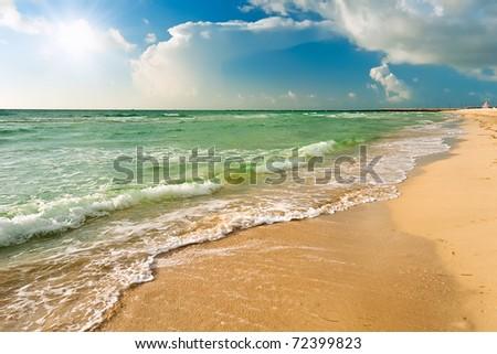 Beach in Miami, FL - stock photo