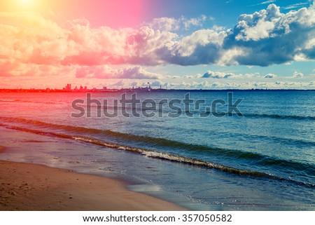 Beach in Pirita,Tallin city, Estonia - stock photo