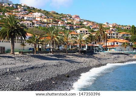 Beach in Santa Cruz, Madeira island, Portugal - stock photo