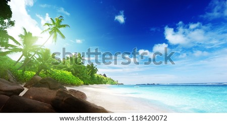 beach in sunset time on Mahe island in Seychelles - stock photo