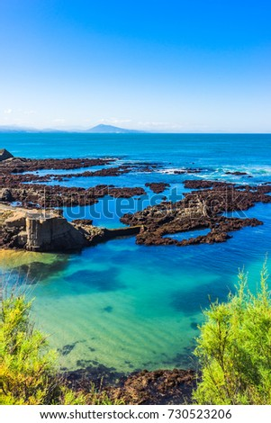 Beach in  the city of Biarritz at low tide, Basque country of France