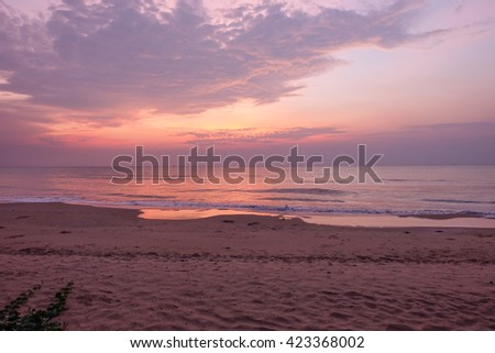 Beach in the morning - stock photo
