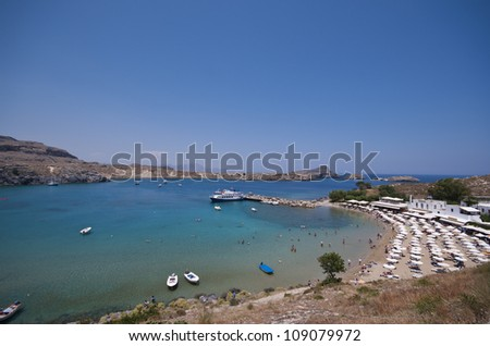 beach in the town of Lindos on the greek island of Rhodes.