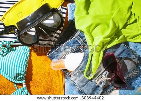 beach items - stock photo
