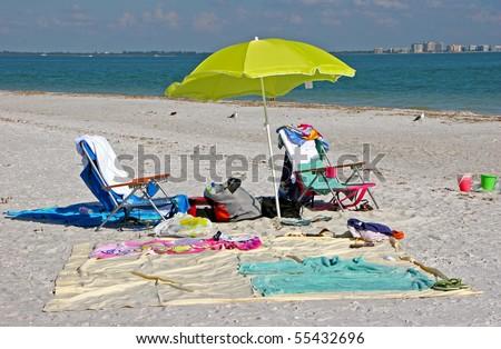 Beach Items and Toys Sanibel Island Florida - stock photo