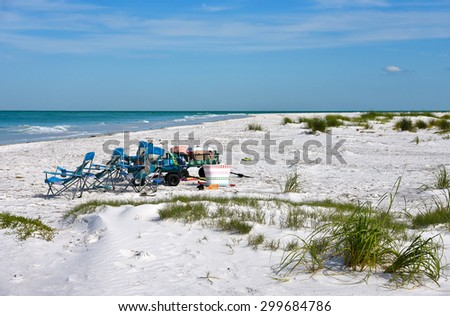Beach Items for Enjoying a Day at the Beach - stock photo
