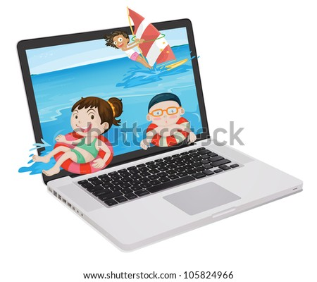 Beach kids coming out of a computer screen - stock photo