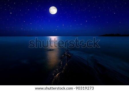 Beach landscape in moon light with stars on the sky