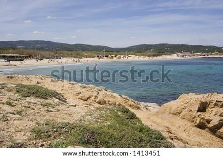 beach life in saint-tropez -  French Riviera - stock photo