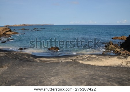Beach made of of dual colored sand on the islet of Djeu part of the archipelago of Cabo Verde