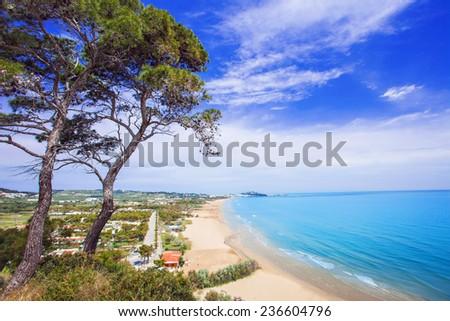 Beach near Vieste town, Gargano, Italy - stock photo
