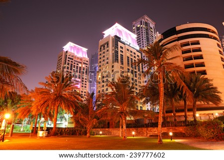 Beach night illumination of the luxury hotel, Dubai, UAE - stock photo
